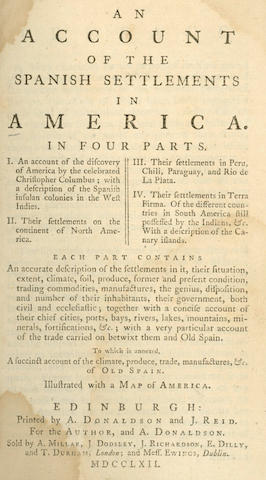 CAMPBELL (JOHN)] An Account of the Spanish Settlements in America, 1762