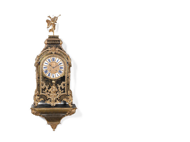 An impressive French ormolu and boulle mantel clock on a wall bracket Delorme, Paris