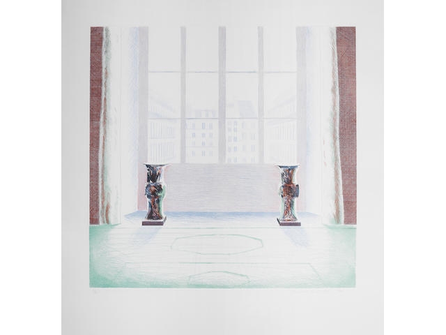 David Hockney R.A. (British, born 1937) Two Vases in the Louvre Etching with aquatint printed in colours, 1974, on Inveresk, signed, dated and numbered 52/75 in pencil, printed by ... published by Petersburg Press, New York, 1975, with full margins, 743 x 740mm (29 1/4 x 29 1/8 in)(PL)