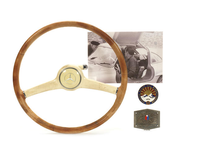 The steering wheel from C H Bussler's Gullwing Mercedes-Benz 300SL lightweight, 1955-56,