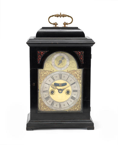 A rare second quarter of the 18th century ebonised quarter repeating ebonised table clock Robert Henderson, Scarborough