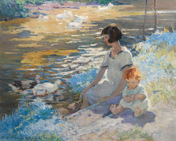 Dorothea Sharp (British, 1874-1955) The baby and the blue, forget-me-nots