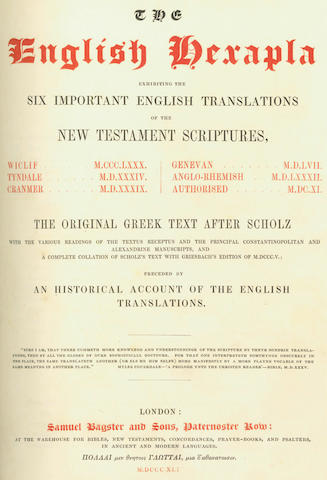 BIBLE - The English Hexapla exhibiting the Six Important English Translations of the New Testament Scriptures..., 1841