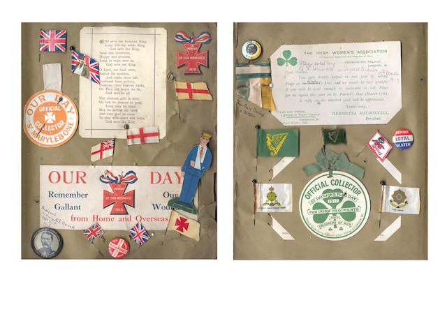 "WORLD WAR I Album, compiled by nurse Ada F. Orrock, containing a very large collection of ephemera relating to fund-raising ""Flag Days"" for the British Red Cross and other organisations relating to helping injured soldiers, [1916-1922]"