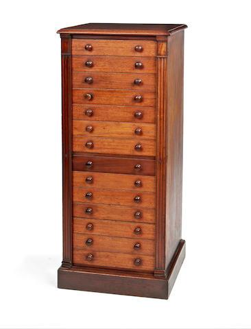 A mid Victorian mahogany collectors' Wellington chest