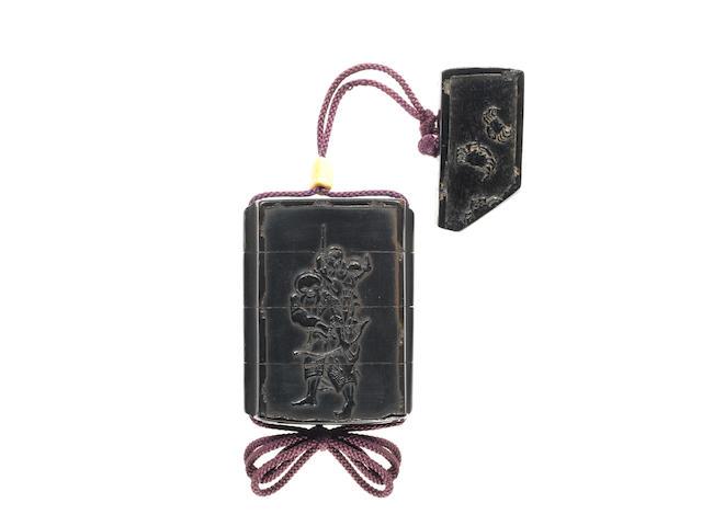 A black-lacquer three-case inro  By Shibata Zeshin (1807-1891), 19th century