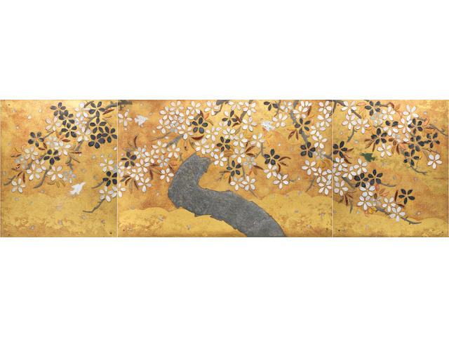 Kitaoji Rosanjin, 'Sakura', 1953, triptych.  (old damages)