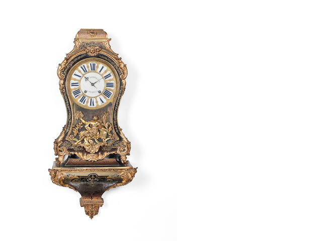 A mid 18th century French boulle bracket clock with bracketthe dial signed J.F. Dominicé, Paris