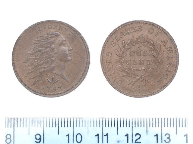 U.S.A., One Cent, 1793, Liberty head right, three-leaf sprig above date, vine and bars edge,