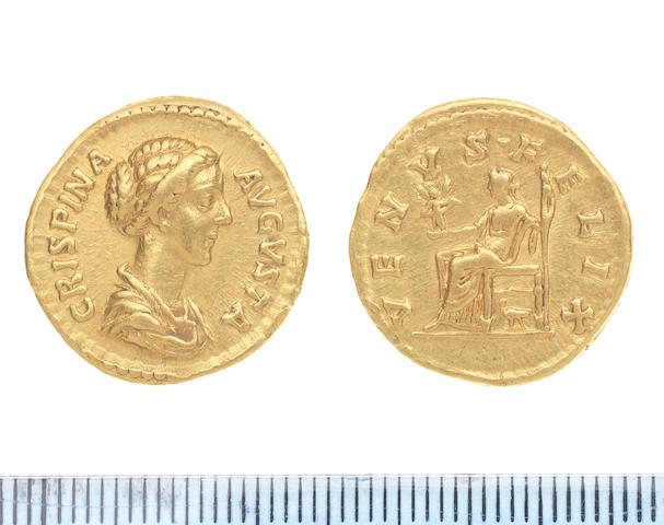 Crispina Gold Aureus 7.2g. Obv CRISPINA AUGUSTA Draped bust r. Rev VENUS FELIX Venus seated l holding victory and sceptre, dove beneath seat. RIC 287 Sear 5993.