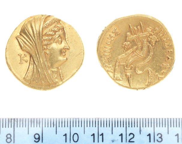 Egypt Ptolemy VI  180-145 BC Gold Octodrachm 27.9g  Obv Head of Arsinoe r wearing diadem, in field K. Rev Double cornucopiae bound with fillet. Cop 322, Sear 7888A.