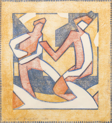 Claude Flight (British, 1881-1955) Discussion Linocut printed in yellow ochre, vermilion and cobalt blue, c. 1929, on cream oriental laid tissue, signed and numbered 10/50 in pencil, with margins, 302 x 270mm (11 4/5 x 10 2/3in)(B)