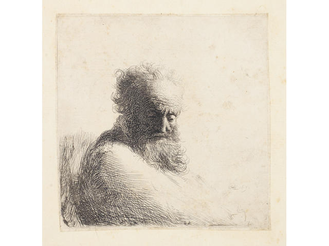 Rembrandt Harmensz van Rijn (Dutch, 1606-1669) Bust of an old bearded man, looking down, three quarters right Etching, 1631, a good impression of the second state before the reduction of the plate on the right, on laid, 119 x 117mm (4 3/4 x 4 5/8in)(PL)  unframed