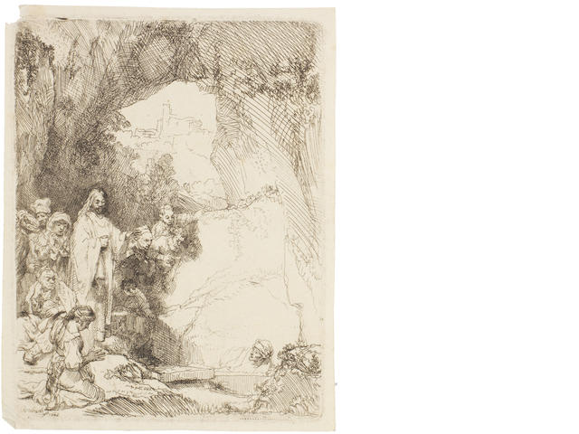 Rembrandt Harmensz van Rijn (Dutch, 1606-1669) The Raising of Lazarus: Small Plate Etching, 1642, first state, with Lazarus' forehead unshaded, on laid, 150 x 114mm (5 7/8 x 4 1/2in)(PL)  unframed