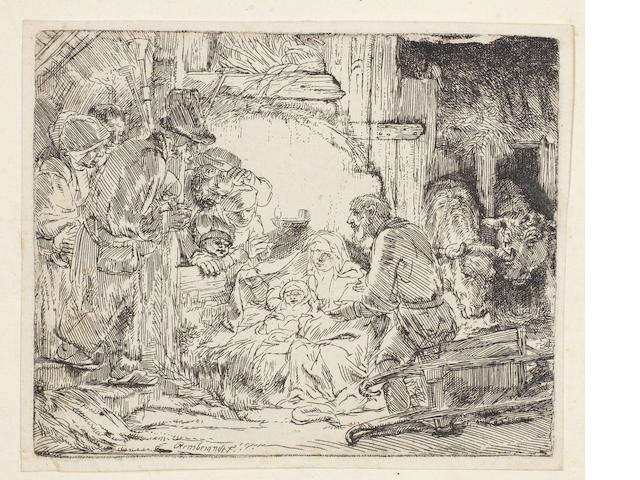 Rembrandt Harmensz van Rijn (Dutch, 1606-1669) The Adoration of the Shepherds: With the Lamp Etching, 1654, a good impression of the first state, with the white flaw upper right due to failure in biting, on watermarked laid, 105 x 129mm (4 1/8 x 5 1/8in)(PL)  unframed