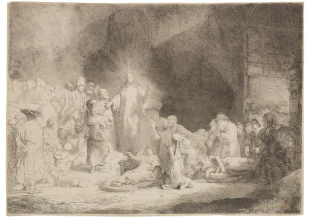 Rembrandt Harmensz van Rijn (Dutch, 1606-1669) The Hundred Guilder Print (Christ healing the sick) Etching, 1649, Nowell-Usticke's fifth state, after the Watelet retouch, with fine shading and some rust spotting on the man's robe on the left, with some very fine pen and ink additions such as the hair of the old man to the left of Christ and the hair of the woman with the baby on the left, much wear in the plate, on wove, with thread margins, 278 x 388mm (10 7/8 x 15 1/4in)(PL)     unframed