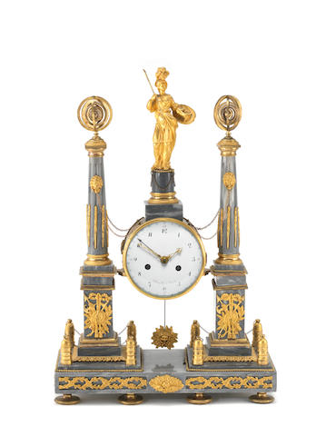 A late 18th century French ormolu mounted marble portico clock Denoyelle, Paris