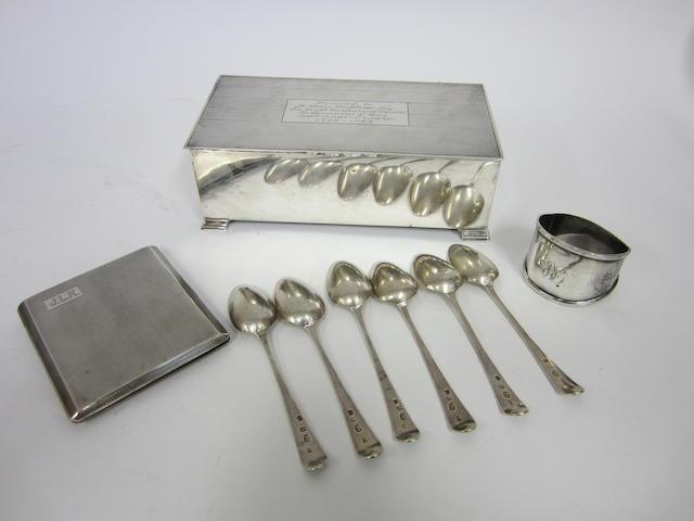 A silver presentation cigarette box Birmingham 1947  (9)