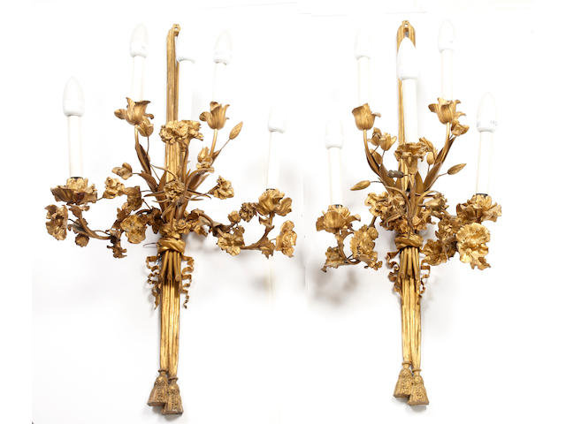 A set of six Louis XVI-style gilt bronze five-light appliques