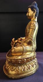 A Chinese gilded bronze Bhaiṣajyaguru Qing dynasty