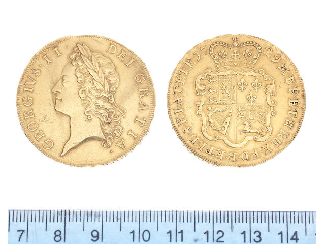 George II (1727-60), Five Guineas, 1729, 41.8g, young laureate head left, GEORGIVS.II.DEI.GRATIA, toothed border both sides,