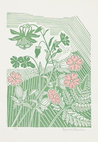 Edward Bawden R.A. (British, 1903-1989) Campions and Columbines Linocut in colours, 1947, on wove, signed and numbered 35/500 in pencil, 230 x 170mm (9 1/8 x 6 3/4in)(B) unframed