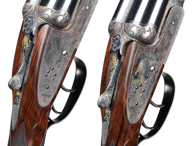 A fine pair of 12-bore (2¾in) 'Highest Quality' sidelock ejector guns by Joseph Lang & Son, no. 15938/9 In their brass-mounted, oak and leather guncase