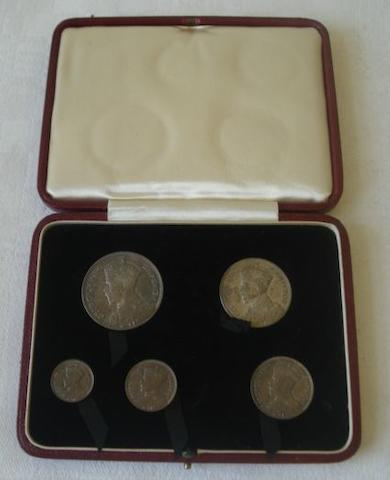 A 1932 silver proof set Southern Rhodesia Half Crown, two Shillings, Shilling, six Pence and three Pence, in gilt tooled case as issued.