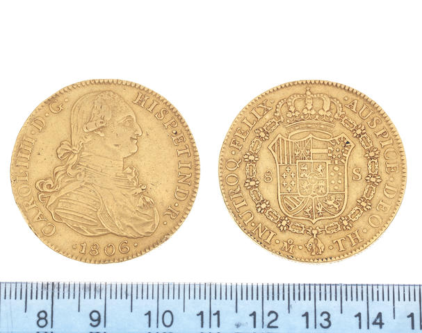 Mexico, Eight Escudos, 1806TH, armored bust right,