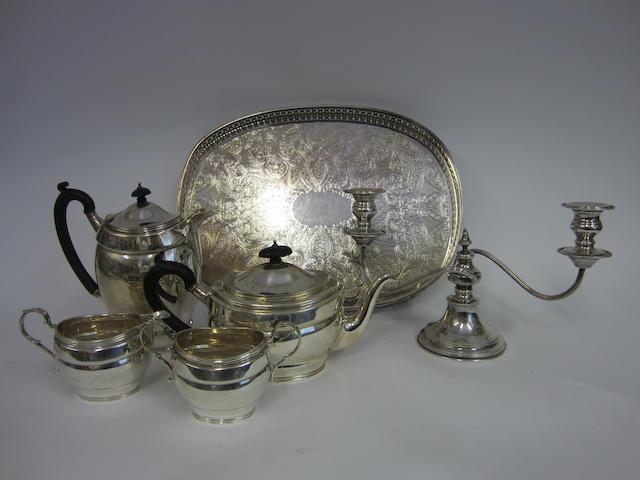 A silver four piece tea service Birmingham 1912 - 1921  (6)