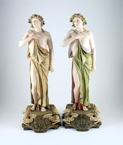 A pair of Turn Wein figures of young Greek male figures  Circa 1905-1915