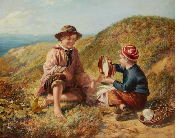 William Hemsley (British, 1819-1893) Children On A Cliff Top, oil on canvas, gilt frame