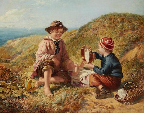 William Hemsley (British, 1819-1893) Children On A Cliff Top, oil on canvas, gilt frame
