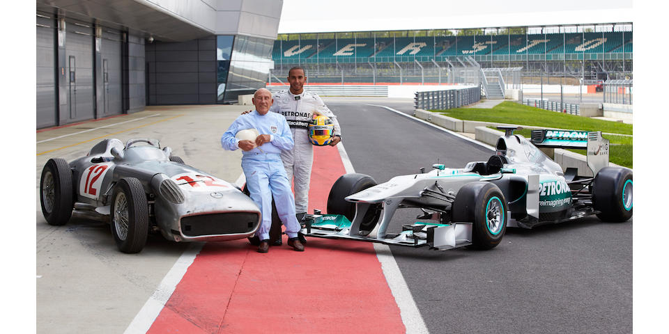 Stirling Moss and Lewis Hamilton with W196 at Silverstone