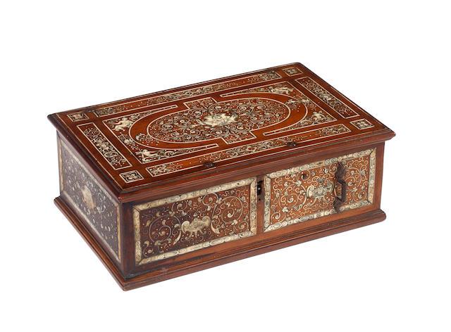 A 19th century Italian ivory inlaid walnut box