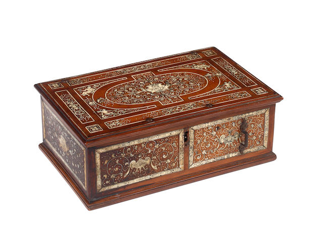 A 19th century Italian ivory inlaid walnut box