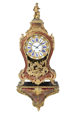 A large French late 19th century Boulle style bracket clock and matching bracket