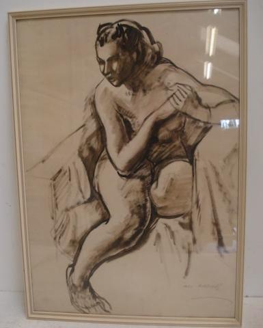 Iain MacNab (British, 1890-1967) Seated female nude, signed, brush and ink on paper, 53 x 37.5cm, together with another similar work by the same hand. (2)