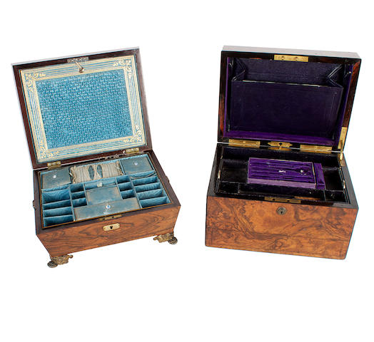 A early 19th century rosewood sewing box and a burr walnut toilet box