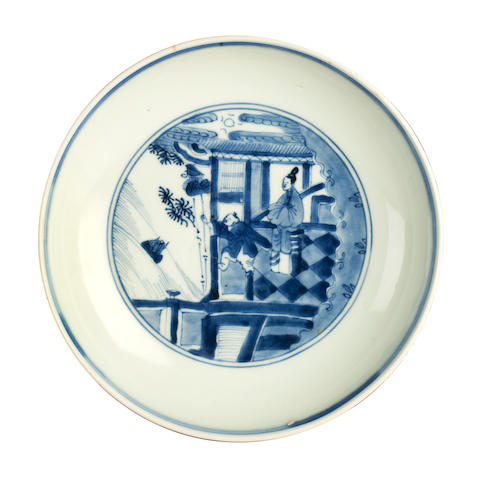 A blue and white saucer dish Yongzheng six character marks