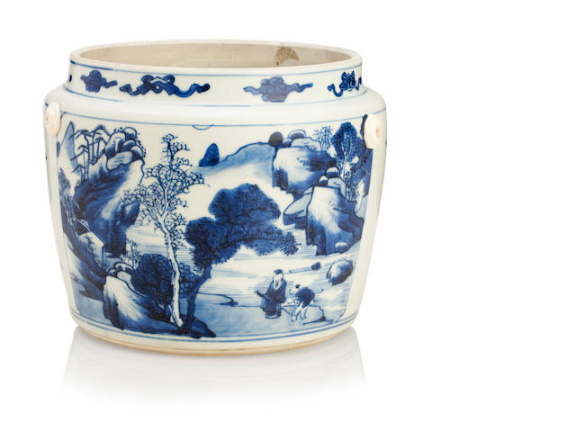 A blue and white storage vessel Kangxi