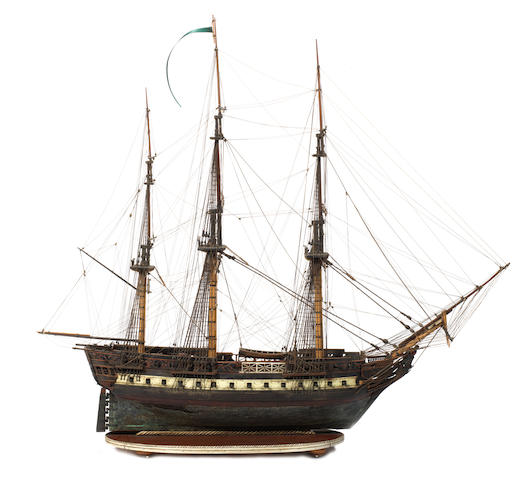 A fine early 19th century wood and bone model of the 5th rate HMS Amazon 1799 33x14x26.5ins.(84x36x67cm)