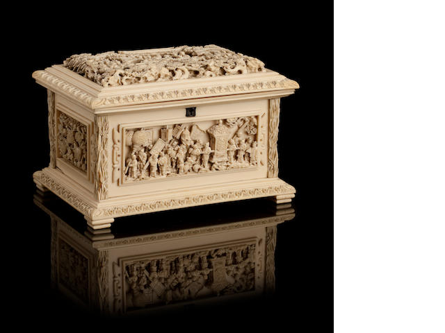 A finely carved ivory jewellery casket 19th century