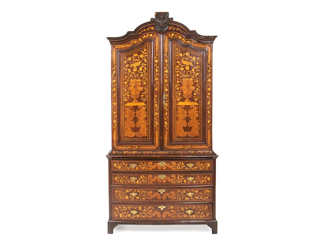 A Dutch third quarter 18th century mahogany and marquetry armoire