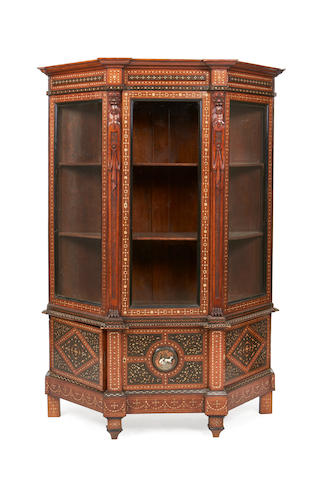 A North Italian 19th century ivory, ebony, bone, brass, pewter and copper 'Alla Certosina' inlaid walnut display cabinet