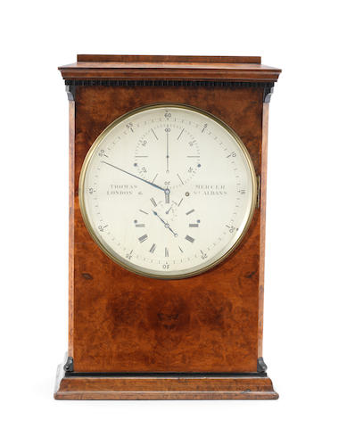 A fine and rare late 19th century burr walnut seconds-beating table chronometer. Exhibited at the International Inventions Exhibition, London 1885 Thomas Mercer, London & St. Albans