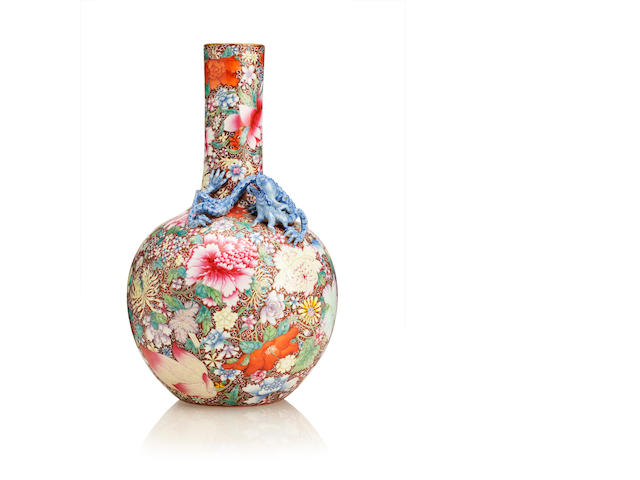 A famille rose 'mille fleurs' bottle vase Bearing Qianlong six character zhuanshu mark but later