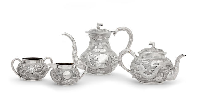A four-piece export silver tea service Kan Mao Hsing of Jiujang, c.1880-1930