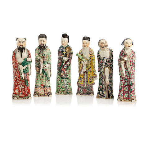 Six porcelain Immortals 19th/20th century