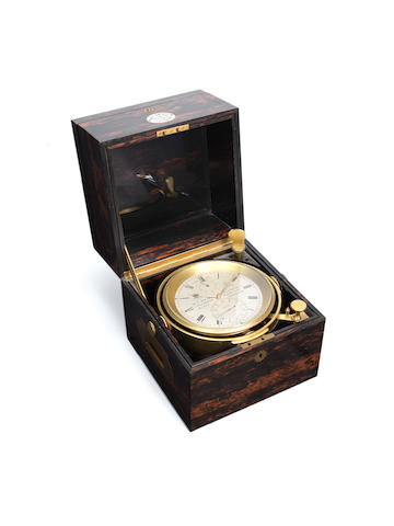 A fine last quarter of the 19th century coromandel eight day marine chronometer with staple balance M.F.Dent, 33 Cockspur St., Chronometer maker to the Queen, London, No 29735